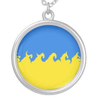 Ukraine Gnarly Flag Round Pendant Necklace