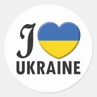 Ukraine Love Classic Round Sticker