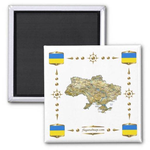 Ukraine Map + Flags Magnet