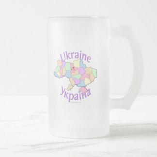 Ukraine Map Frosted Glass Beer Mug