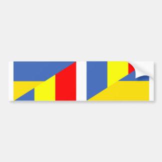 ukraine romania flag country half symbol bumper sticker
