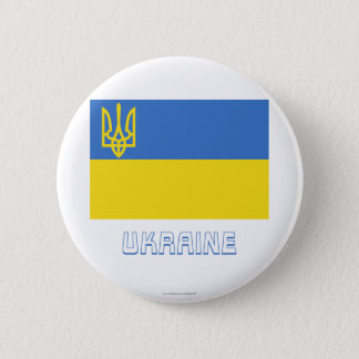 Ukraine Traditional Flag with Name 6 Cm Round Badge