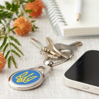 Ukraine Trident in Yellow On Blue Keychains