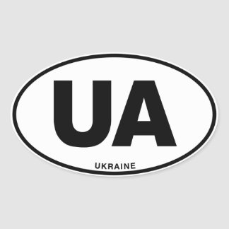 Ukraine UA Oval ID Identification Code Initials Oval Sticker
