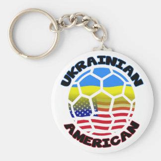Ukrainian American Football Soccer Keychain