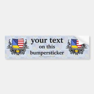 Ukrainian-American Shield Flag Bumper Sticker
