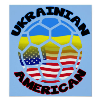 Ukrainian American Soccer Poster Football