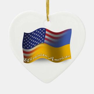Ukrainian-American Waving Flag Christmas Ornament