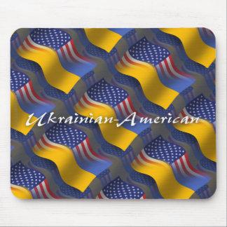 Ukrainian-American Waving Flag Mouse Mat