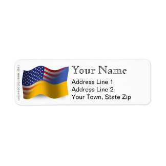 Ukrainian-American Waving Flag Return Address Label