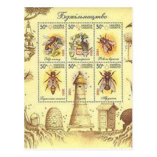 Ukrainian Beekeeping Stamp Postcard