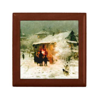 Ukrainian Christmas Carolers Tile Box