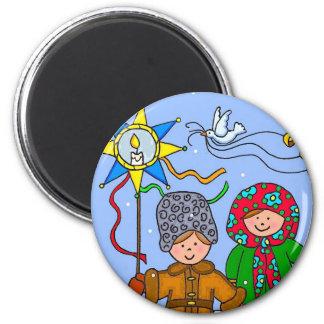 Ukrainian Christmas Carollers 6 Cm Round Magnet
