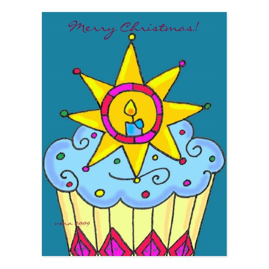Ukrainian Christmas Cupcake to Personalise Postcard