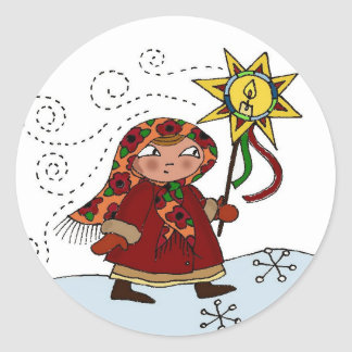 Ukrainian Christmas Star Classic Round Sticker