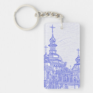 Ukrainian Church Double-Sided Rectangular Acrylic Key Ring