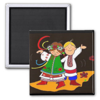Ukrainian Dance Square Magnet