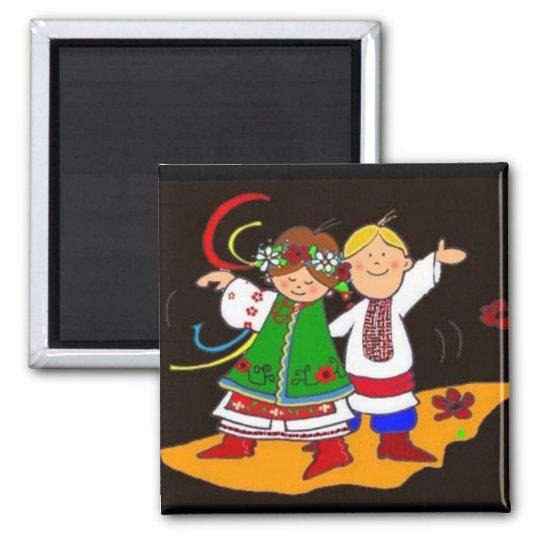Ukrainian Dance Square Magnet