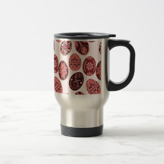 Ukrainian easter eggs red pattern travel mug