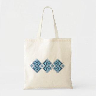 Ukrainian embroidery blue vyshyvanka tote bag