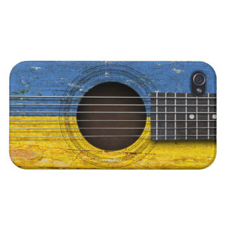 Ukrainian Flag on Old Acoustic Guitar Case For iPhone 4
