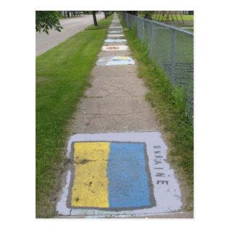 Ukrainian Flag Sidewalk Art Postcard