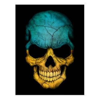 Ukrainian Flag Skull on Black Postcard