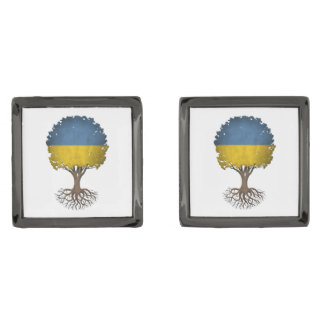 Ukrainian Flag Tree of Life Customizable Gunmetal Finish Cufflinks