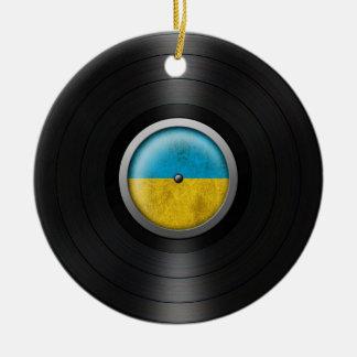 Ukrainian Flag Vinyl Record Album Graphic Round Ceramic Decoration