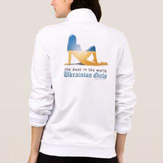 Ukrainian Girl Silhouette Flag Jackets