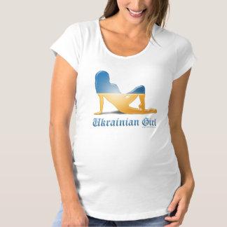 Ukrainian Girl Silhouette Flag Maternity T-Shirt