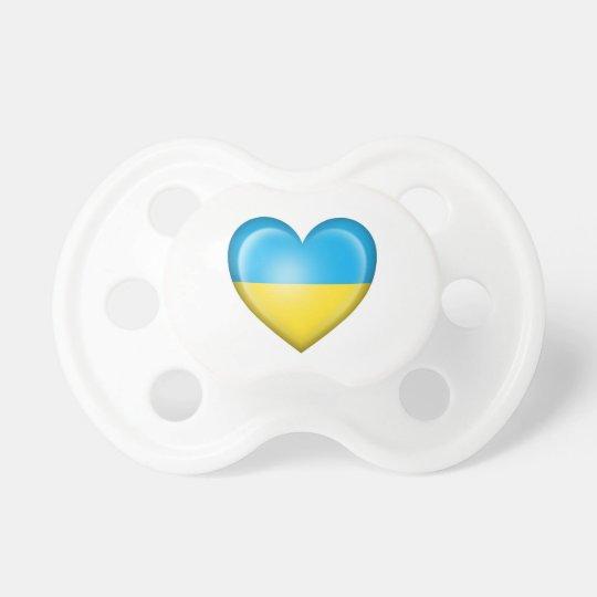 Ukrainian Heart Flag on White Pacifier