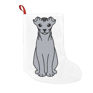 Ukrainian Levkoy Cat Cartoon Small Christmas Stocking