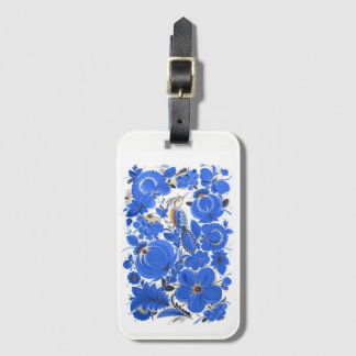 Ukrainian Petrykivka Folk Art Luggage Tag Blue