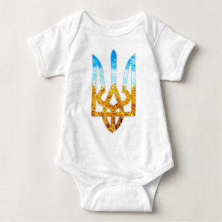Ukrainian tryzub background of wheat and blue sky baby bodysuit