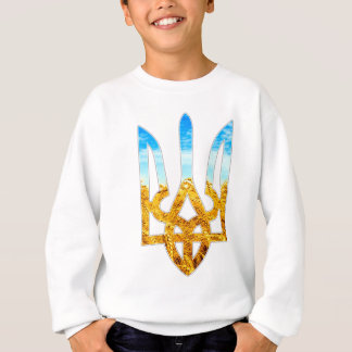 Ukrainian tryzub background of wheat and blue sky sweatshirt