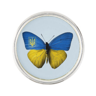 Ukrainian Tryzub Flag Coloured Butterfly Pin