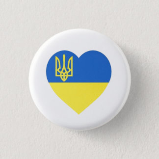 Ukrainian Tryzub Heart Badge Small