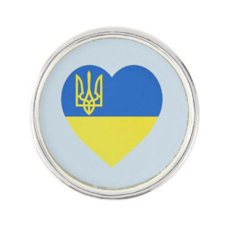 Ukrainian Tryzub Heart Pin