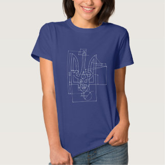 Ukrainian Tryzub technical drawing construction Tshirt