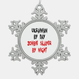 Ukrainian Zombie Slayer Snowflake Pewter Christmas Ornament