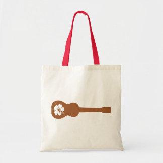 Ukulele and hibisbus tote bag