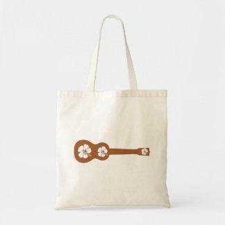 ukulele and hibiscus aloha flower budget tote bag