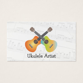 Ukulele Artist Music Notes Business Card