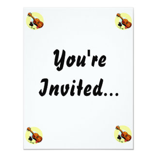 Ukulele Castanets Rose Design Graphic Musical 11 Cm X 14 Cm Invitation Card