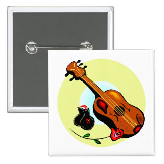 Ukulele Castanets Rose Design Graphic Musical 15 Cm Square Badge