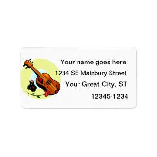 Ukulele Castanets Rose Design Graphic Musical Address Label