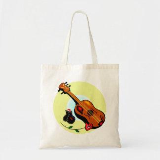 Ukulele Castanets Rose Design Graphic Musical Budget Tote Bag