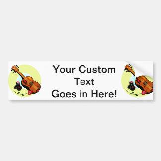 Ukulele Castanets Rose Design Graphic Musical Bumper Sticker