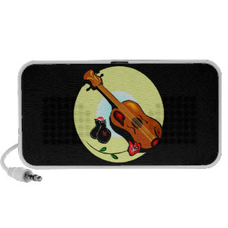 Ukulele Castanets Rose Design Graphic Musical Laptop Speaker